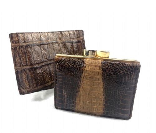 Vintage Crocodile Skin Wallet And Purse Pair / Matching / Leather / Gents Ladies